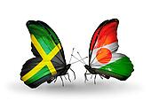 Two butterflies with flags on wings as symbol of relations Jamaica and Niger