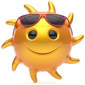 Sun smiley face ball sunglasses cheerful summer smile cartoon