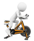 3D white people. Man doing spinning on a bike