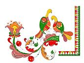 ornament with paradise birds