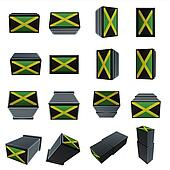 jamaica flags 3D Box with  mesh texture