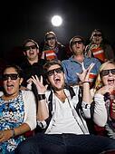 Scared movie spectators
