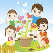Family planting and gardening