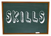 Skills Word on Chalkboard Learn New Things in School