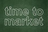 Timeline concept: Time to Market on chalkboard background