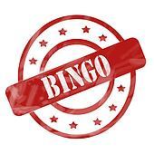 Red Weathered Bingo Stamp Circles and Stars