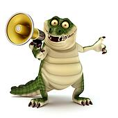 Crocodile with megaphone