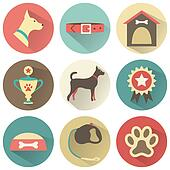 Retro dog icons set.  illustration for web