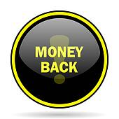 money back black and yellow glossy internet icon