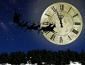 Santa Claus On Sledge With Deer against the bright moon with arrows clock. Concept eve of New year