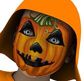 Boy With Pumpkin Mask Looking Up