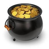 Black pot full of gold coins