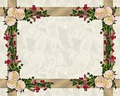 Pink roses exotic floral border