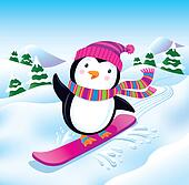 Snowboarding Penguin On the Slopes
