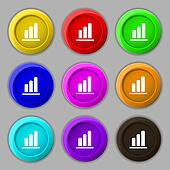 Growth and development concept. graph of Rate icon sign. symbol on nine round colourful buttons.