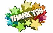 Thank You Appreciation Message Stars Words 3d