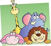 Four Cartoon Jungle Animals