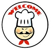 Welcome Asian Chef Face Circle