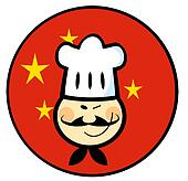 Asian Chef Face Over A China Flag
