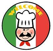 Chef Face Over Italian Flag
