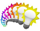 Colorful Light Bulbs Thinking of Innovative Ideas