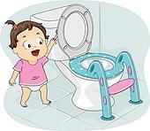 Little Girl Flushing Toilet
