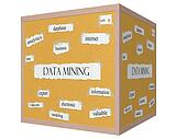 Data Mining 3D cube Corkboard Word Concept