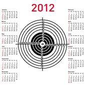 calendar with target for shooting practice at a shooting range with a pistol for 2012. Week starts on Sunday.