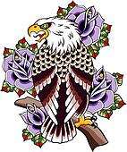 eagle and rose tribal art