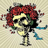 Skull in roses crown, vector illustration