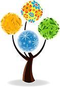 Art tree four seasons