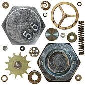 Gears, Screw heads, spring, bolts