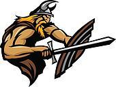 Viking Norseman Mascot Stabbing wit