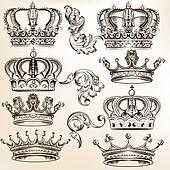 Collection of vector detailed crowns