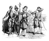 Military Costumes beginning of the reign of Elizabeth, vintage engraving.