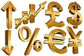 golden economy symbols euro dollar