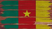 Cameroon Flag tinted horizontal on the wood texture