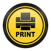 printer icon, yellow logo, print sign