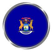Button badge of michigan