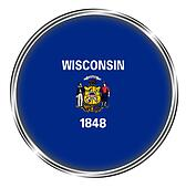 Button badge of wisconsin