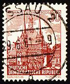 Town Hall of Wernigerode on post stamp
