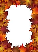 Colorful Fall Leaves Border over White