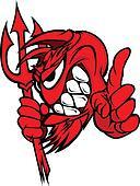 Demon Mascot Head with Pitchfork Ve