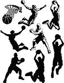 Basketball Silhouettes of Men