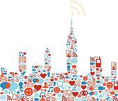 Social media network city concept