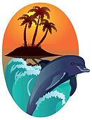 Dolphin against tropical island.