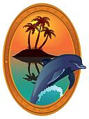 Dolphin against tropical island in a wooden frame.