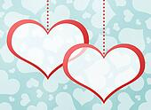 Two red hearts. Abstract background