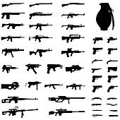 Illustration Set - Weapons - Pistols, Sub Machine Guns, Assault