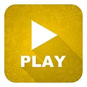 play flat icon, gold christmas button